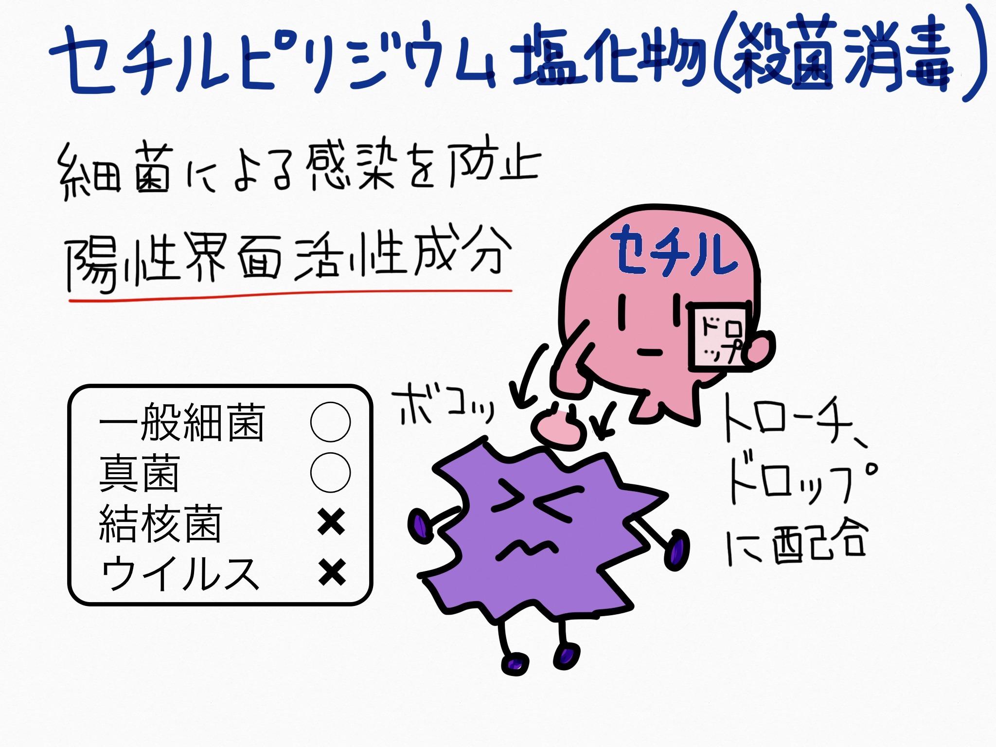 セチルピリジニウム塩化物・殺菌消毒成分の覚え方